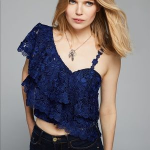 Alice + Olivia Saba Blue Lace Ruffle Top